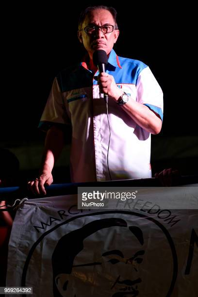 Anwar Ibrahim who heads the People's Justice Party adress a speech to his supporters during a solidarity in Petaling Jaya Malaysia on May 16 2018...