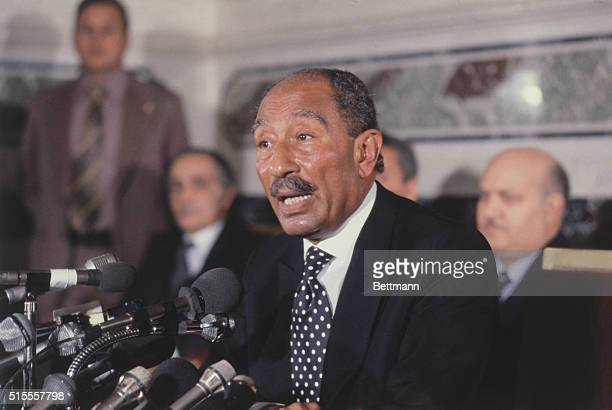Anwar Sadat at News Conference