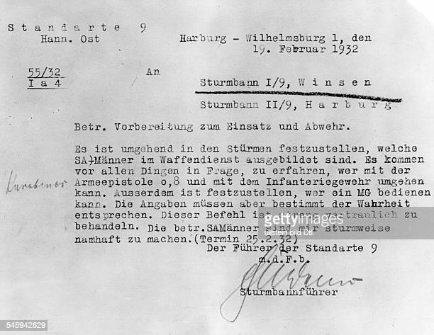 Anweisung an die Sturmbanne Winsen und Harburg der SA an Infanteriewaffen ausgebildete Männer zu melden ein Beweis für die Bürgerkriegspläne der NSDAP