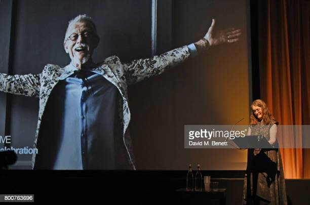 Anwen ReesMyers wife of Sir John Hurt speaks at the BFI Southbank's tribute to Sir John Hurt on June 25 2017 in London England