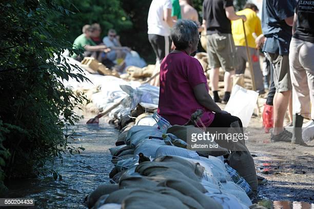 Anwohler verstärken die Deiche mit Sandsäcken bei Tippelskirchen nahe der Kleinstadt Calbe in SachsenAnhalt