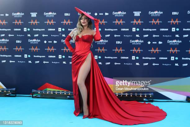 Anxhela Peristeri of Albania arrives at the 65th Eurovision Song Contest held at Rotterdam Ahoy on May 16, 2021 in Rotterdam, Netherlands.