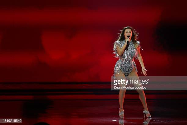 Anxhela Peristeri of Albania during the 65th Eurovision Song Contest dress rehearsal held at Rotterdam Ahoy on May 21, 2021 in Rotterdam, Netherlands.