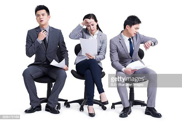 Anxious candidates waiting for interview
