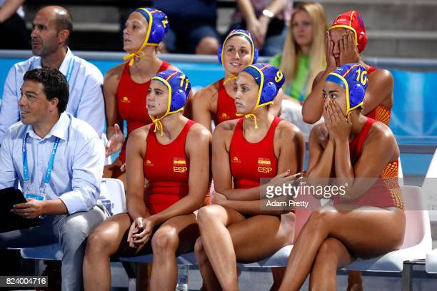 Anxious Spain players look on during the Women's Water Polo gold medal match between the Ubited States and Spain on day fifteen of the Budapest 2017...
