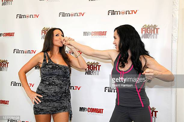 Any Fisher and Nadya Octomom Suleman attend Celebrity Fight Night Official Press Conference at 9021GO Showroom on September 26 2011 in Beverly Hills...