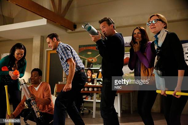 GO ON 'Any Given Birthday' Episode 107 Pictured Suzy Nakamura as Yolanda Tyler James Williams as Owen Seth Morris as Danny Matthew Perry as Ryan King...