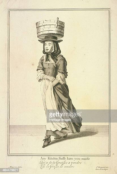 'Any Kitchin Stuffe have you maids' A collector of kitchen fat carrying a tub on her head From Cries of London