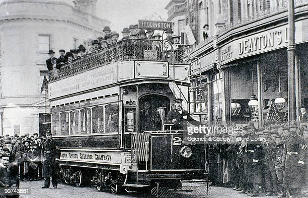 Any opening of a new electric tramway was always a matter of great civic pride illustrated here by the crowd gathered to witness the first tram...