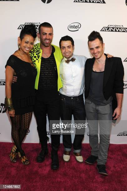 Anya AyoungChee Joshua McKinley Viktor Luna and Anthony Ryan Auld attend HP Project Runway Designer Reunion at Empire Hotel on September 10 2011 in...