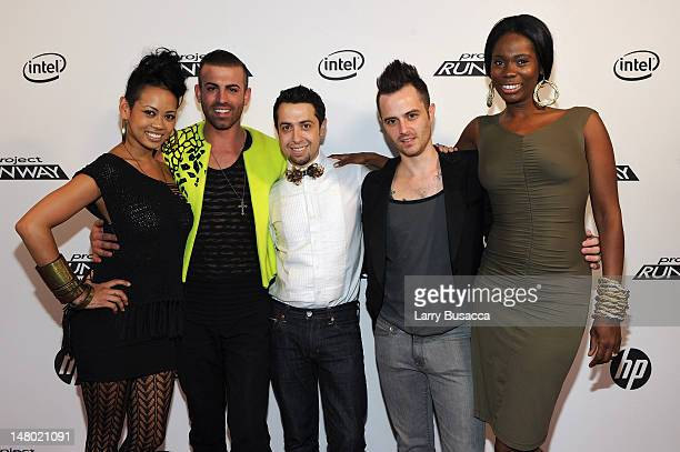 Anya AyoungChee Joshua McKinley Viktor Luna Anthony Ryan Auld and Kimberly Goldson attend HP Project Runway Designer Reunion at Empire Hotel on...