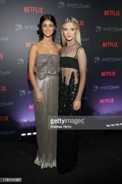 Anya Chalotra and Freya Allan attend the premiere of the Netflix series The Witcher on December 18 2019 in Warsaw Poland