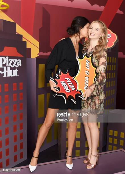 Anya Chalotra and Freya Allan of 'The Witcher' attend the Pizza Hut Lounge at 2019 ComicCon International San Diego on July 20 2019 in San Diego...