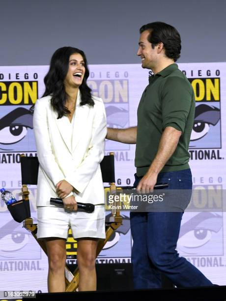 Anya Chalotra and Henry Cavill speak at The Witcher A Netflix Original Series Panel during 2019 ComicCon International at San Diego Convention Center...