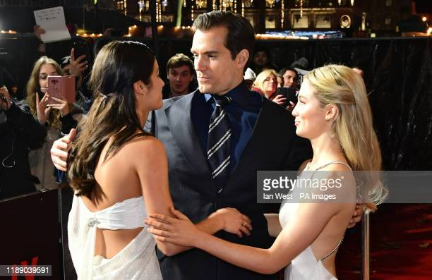 Anya Chalotra Henry Cavill and Freya Allan attending the world premiere of Netflix's The Witcher held at the Vue Leicester Square in London