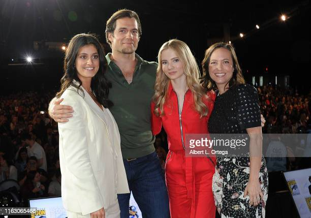 Anya Chalotra Henry Cavill Freya Allan and Jodhi May speak at The Witcher A Netflix Original Series Panel during 2019 ComicCon International at San...