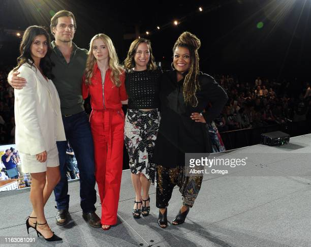 Anya Chalotra Henry Cavill Freya Allan Jodhi May and Yvette Nicole Brown speak at The Witcher A Netflix Original Series Panel during 2019 ComicCon...