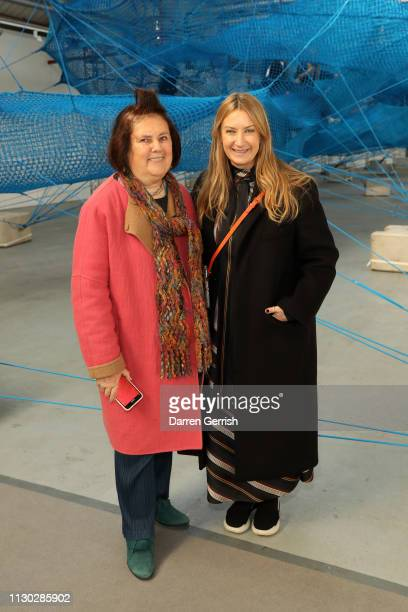 Anya Hindmarch and Suzy Menkes attend the Anya Hindmarch Presentation show during London Fashion Week February 2019 on February 17 2019 in London...