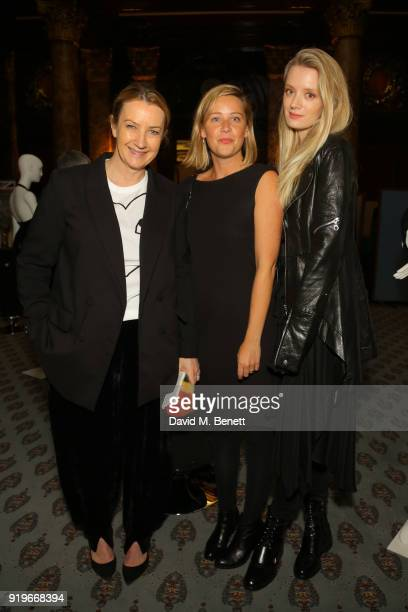 Anya Hinmarsh Tess Fowler and Rebecca CorbinMurray attend the Opening evening for the Australian Fashion Council's inaugural showroom in London...