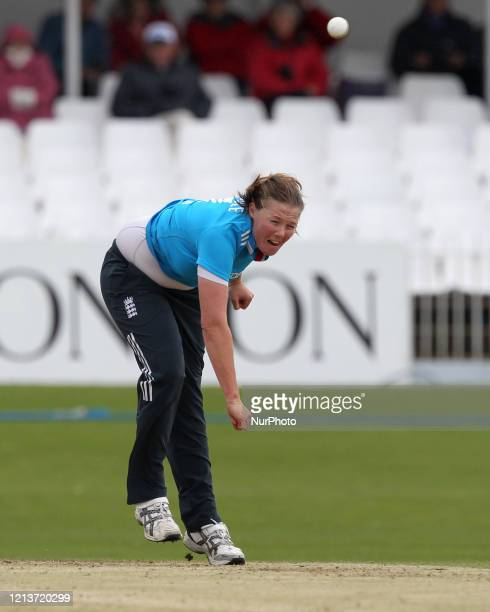 Anya Shrubsole of England bowling during the First One Day International between England Women and India Women at Scarborough CC, North Marie Road,...