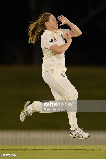 Anya Shrubsole of England bowls during day one of the Women's Tour match between England and the Cricket Australia XI at Blacktown International...