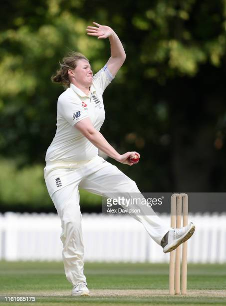 Anya Shrubsole of England bowls during Day Three of the International Friendly match between England Women and Australia A Women at Millfield School...