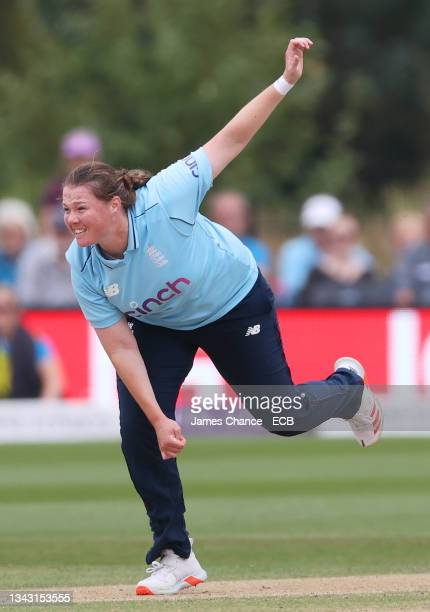 Anya Shrubsole of England bowls during the 5th One Day International match between England and New Zealand at The Spitfire Ground on September 26,...