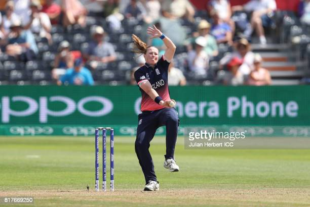 Anya Shrubsole of England bowls during The ICC Women's World Cup 2017 SemiFinal between England and South Africa at The County Ground on July 18 2017...