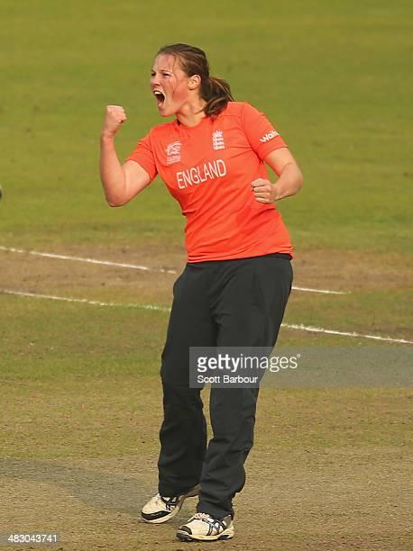 Anya Shrubsole of England celebrates after dismissing Jess Jonassen of Australia during the Final of the ICC Women's World Twenty20 Bangladesh 2014...