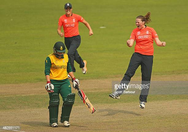 Anya Shrubsole of England celebrates after dismissing Lizelle Lee of South Africa during the ICC Women's World Twenty20 Bangladesh 2014 2nd SemiFinal...