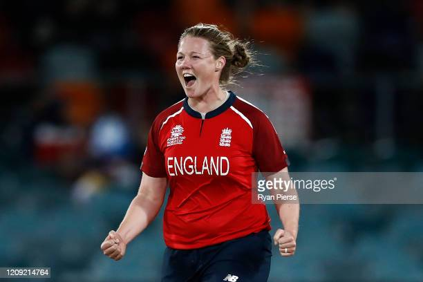 Anya Shrubsole of England celebrates after taking the wicket of Muneeba Ali of Pakistan during the ICC Women's T20 Cricket World Cup match between...