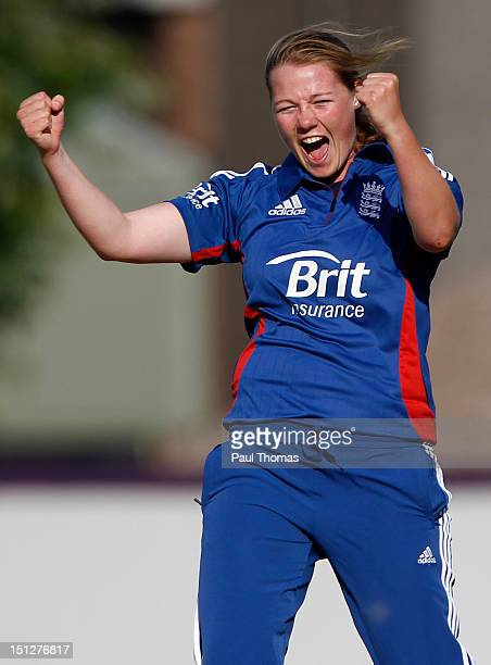 Anya Shrubsole of England celebrates after taking the wicket of England Academy's Danielle Hazell during the friendly T20 cricket match between...