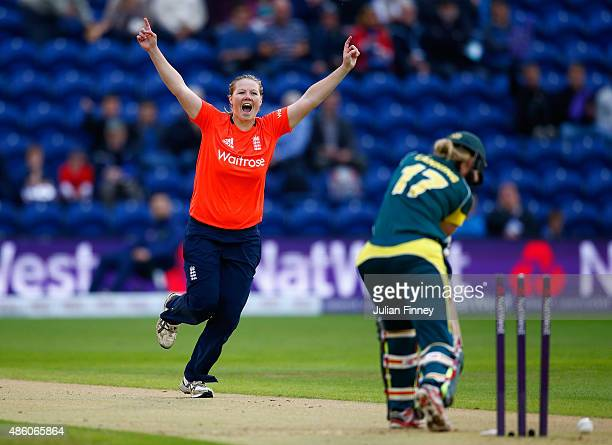 Anya Shrubsole of England celebrates bowling out Meg Lanning of Australia during the 3rd NatWest T20 of the Women's Ashes Series between England and...