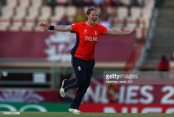 Anya Shrubsole of England celebrates bowling Yolani Fourie of South Africa during the ICC Women's World T20 2018 match between England and South...