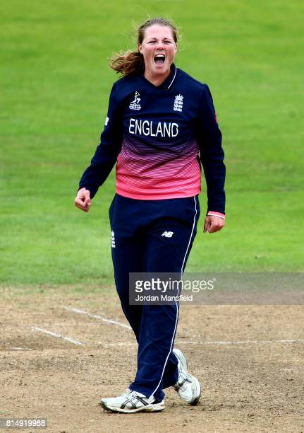 Anya Shrubsole of England celebrates dismissing Anisa Mohammed of West Indies during the ICC Women's World Cup 2017 match between England and West...