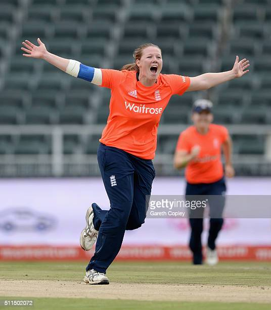 Anya Shrubsole of England celebrates dismissing Marizanne Kapp of South Africa during the 3rd T20 International match between South Africa and...