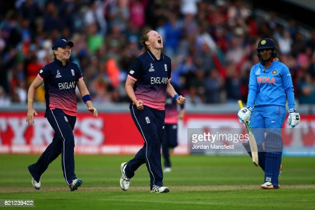 Anya Shrubsole of England celebrates dismissing Veda Krishnamurthy of India during the ICC Women's World Cup 2017 Final between England and India at...