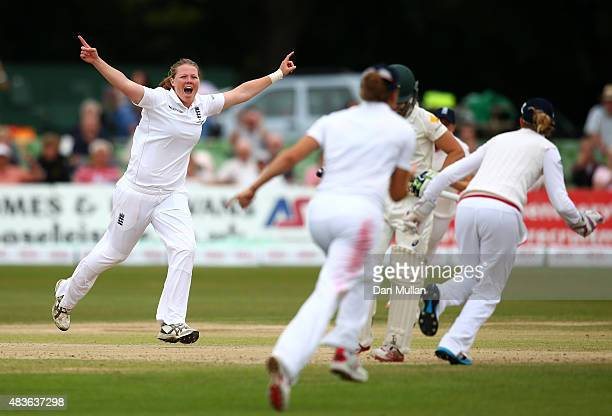 Anya Shrubsole of England celebrates taking the wicket of Nicole Bolton of Australia during day one of the Kia Women's Test of the Women's Ashes...