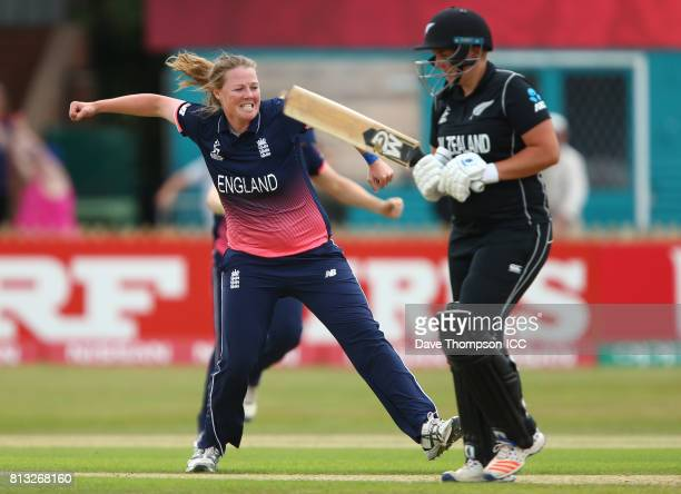 Anya Shrubsole of England celebrates taking the wicket of Rachel Priest of New Zealand during the ICC Women's World Cup match between England and New...