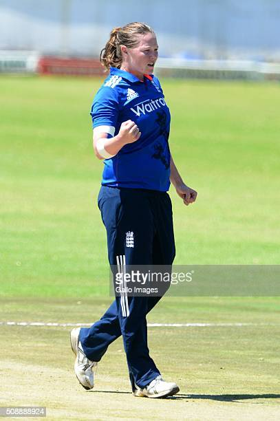 Anya Shrubsole of England celebrates the wicket of Laura Wolfvaardt of South Africa during the One Day International match between South African...