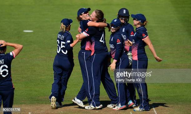 Anya Shrubsole of England celebrates the wicket of Laura Wolvaardt of South Africa during the ICC Women's World Cup 2017 match between England and...
