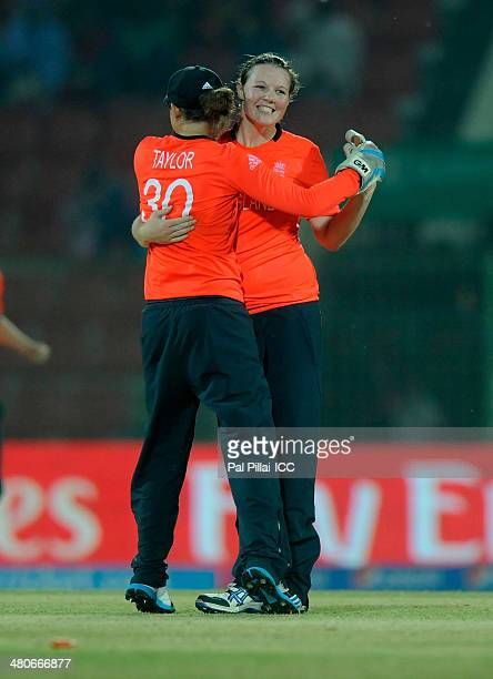 Anya Shrubsole of England celebrates the wicket of Sravanthi Naidu of India during the ICC Womens World Twenty20 match between England and India...