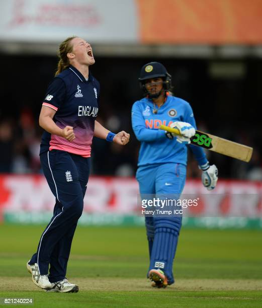 Anya Shrubsole of England celebrates the wicket of Veda Krishnamurthy of India during the ICC Women's World Cup 2017 Final between England and India...