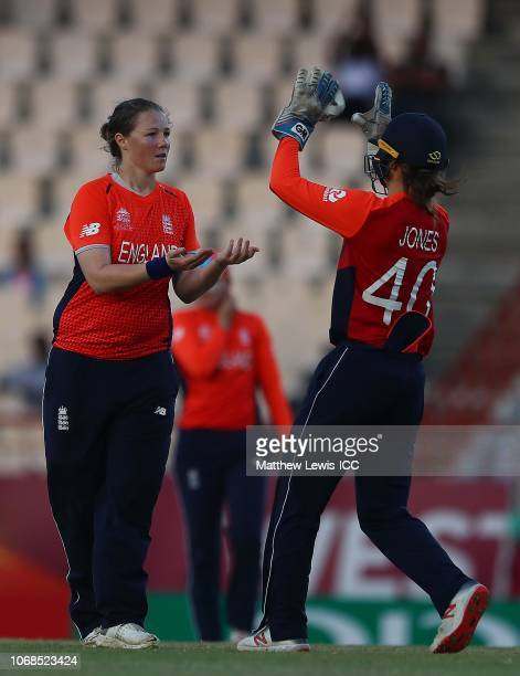 Anya Shrubsole of England celebrates with Amy Jones of England after bowling Yolani Fourie of South Africa during the ICC Women's World T20 2018...