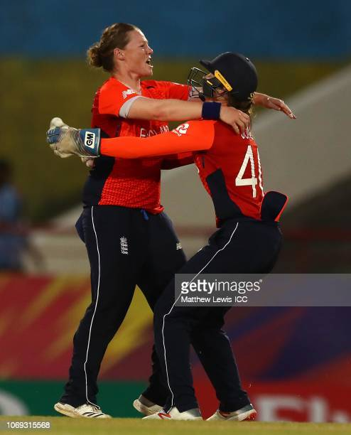 Anya Shrubsole of England celebrates with Amy Jones of England after bowling Hayley Matthews of West Indies during the ICC Women's World T20 2018...