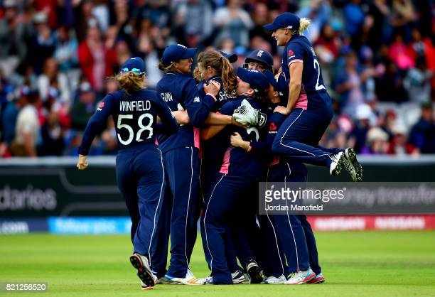 Anya Shrubsole of England celebrates with her teammates after dismissing Deepti Sharma of India during the ICC Women's World Cup 2017 Final between...