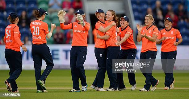 Anya Shrubsole of England celebrates with teammates after dismissing Elyse Villani of Australia during the 3rd NatWest T20 of the Women's Ashes...