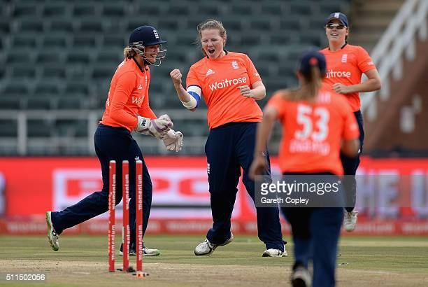 Anya Shrubsole of England celebrates with teammates after dismissing Dane van Niekerk of South Africa during the 3rd T20 International match between...