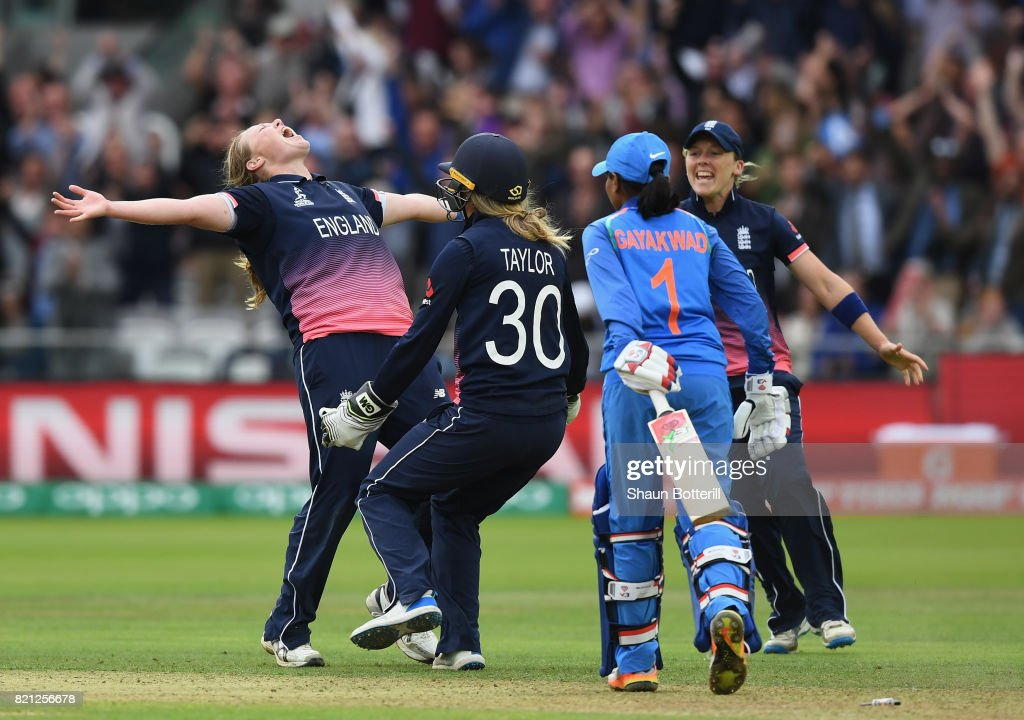 Anya Shrubsole of England celebrates with team-mates Sarah Taylor and Heather Knight after taking the final India wicket of Rajeshwari Gayakwad to win the ICC Women's World Cup 2017 Final between England and India at Lord's Cricket Ground on July 23, 2017 in London, England.