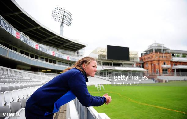 Anya Shrubsole of England poses from behind the boundary boards during the ICC Women's World Cup 2017 Champions Press Conference at on July 24 2017...